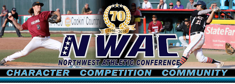 Northwest Athletic Conference NWAC baseball Sports Banner Image. NWAC Slogan: Character, Competition, Community