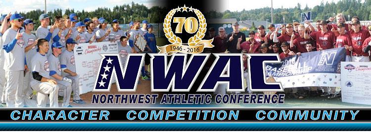 Northwest Athletic Conference NWAC baseball Sports Banner Image. NWAC Slogan: Character, Competition, Community