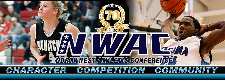 Northwest Athletic Conference NWAC basketball Sports Banner Image. NWAC Slogan: Character, Competition, Community