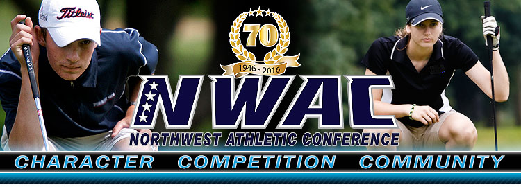 Northwest Athletic Conference NWAC golf Sports Banner Image. NWAC Slogan: Character, Competition, Community