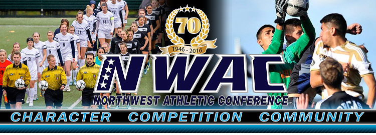 Northwest Athletic Conference NWAC soccer Sports Banner Image. NWAC Slogan: Character, Competition, Community