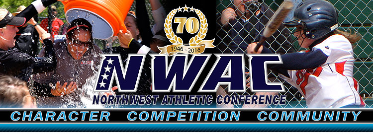 Northwest Athletic Conference NWAC softball Sports Banner Image. NWAC Slogan: Character, Competition, Community