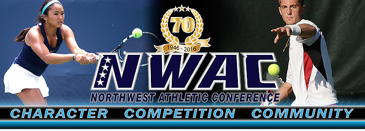 Northwest Athletic Conference NWAC tennis Sports Banner Image. NWAC Slogan: Character, Competition, Community