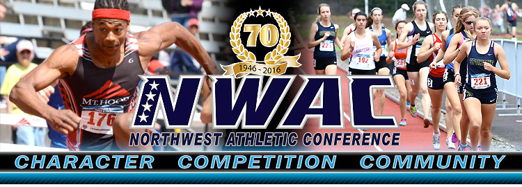 Northwest Athletic Conference NWAC track Sports Banner Image. NWAC Slogan: Character, Competition, Community