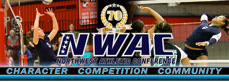Northwest Athletic Conference NWAC volleyball Sports Banner Image. NWAC Slogan: Character, Competition, Community
