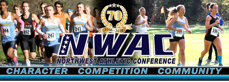 Northwest Athletic Conference NWAC xcountry Sports Banner Image. NWAC Slogan: Character, Competition, Community