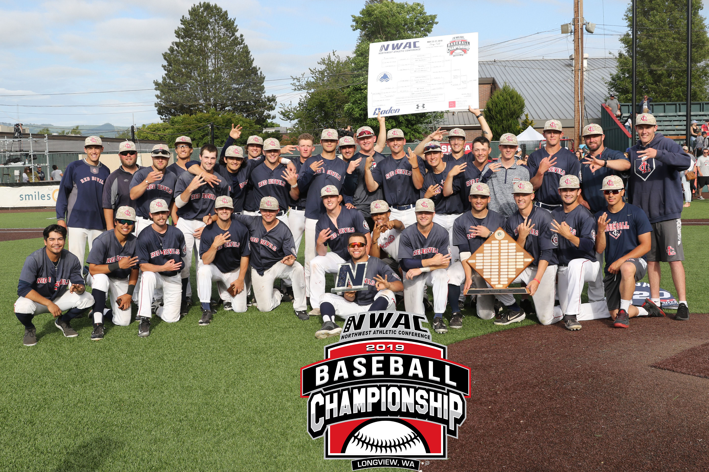Photo of Lower Columbia team with championship hardward